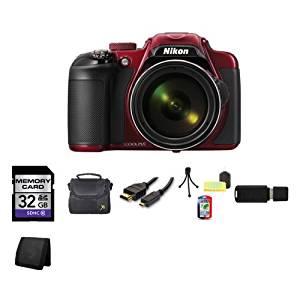 Nikon COOLPIX P600 16.1 MP Wi-Fi CMOS Digital Camera (Red) 32GB Bundle 2