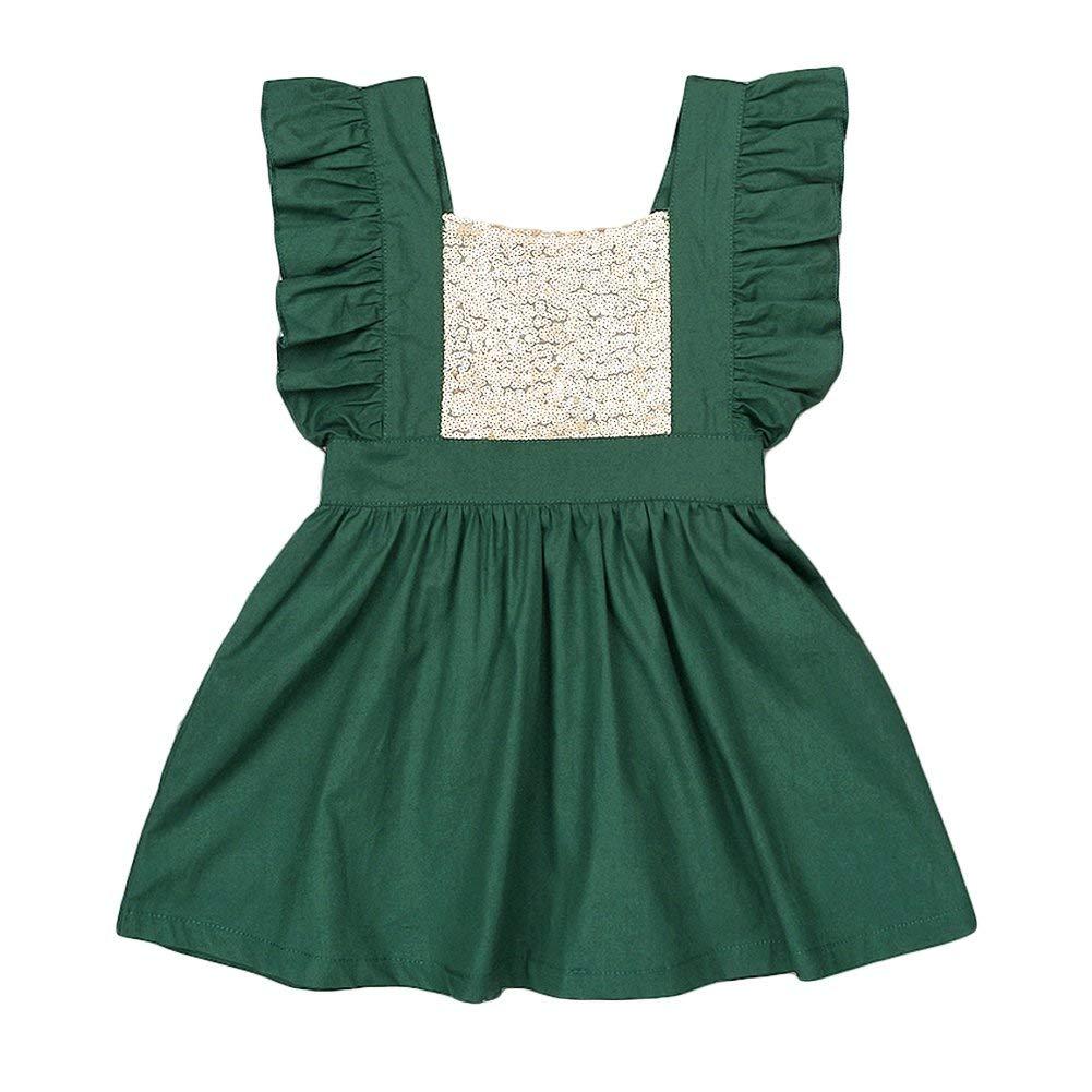 b4d2d436 Get Quotations · YOHA Baby Girls Sequins Ruffle Jumper Skirts Suspender  Pinafore Toddler Dress