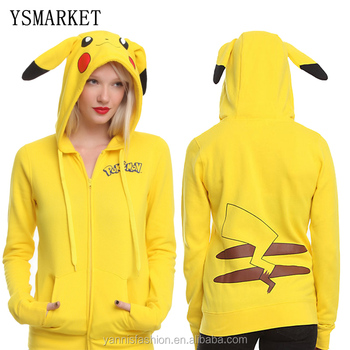 Ysmarket Mode Femmes Veste Jaune Solide Pokemon Pikachu Imprimé Costume Queue Zip Totoro Sweat À Capuche Sudaderas Muje Buy Veste Femme Mode,Sweat À