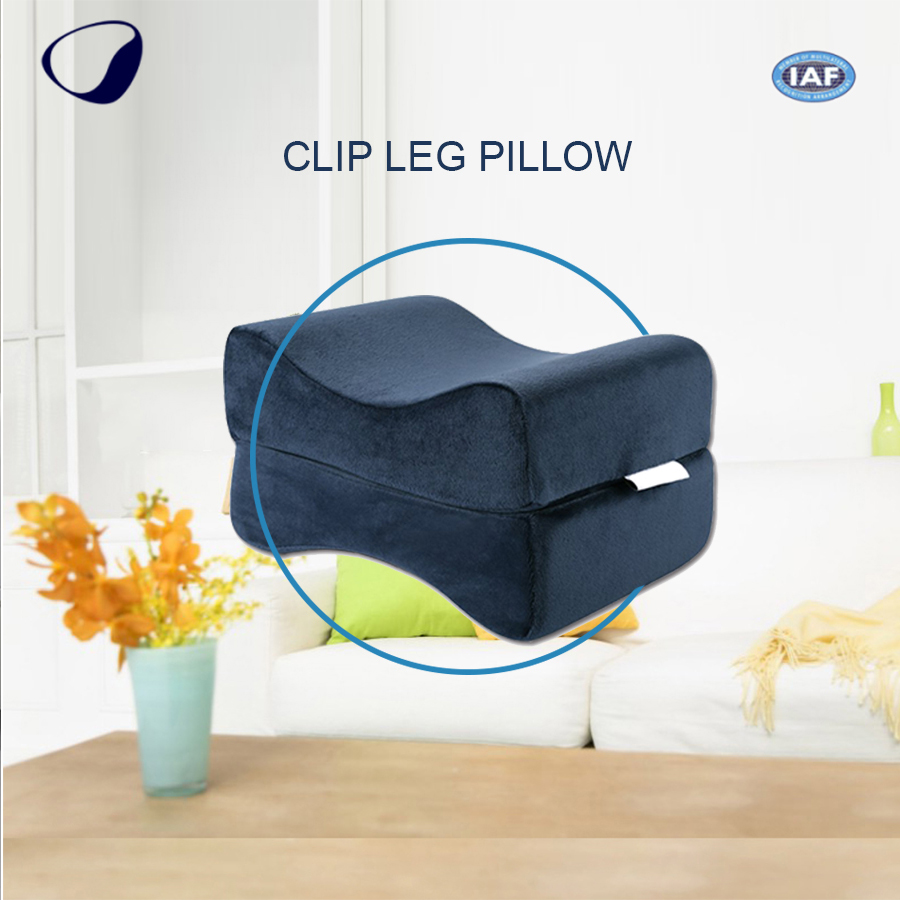 Digital Printing Gray Color Rectangle Foam Knee Cushion Fully Relax Sleeping Support Legs Pillow For Reduces Lower Back Pain