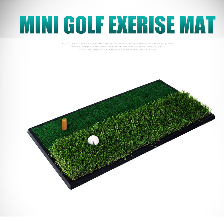 mini golf exercise mat with five tee hole golf hitting mat