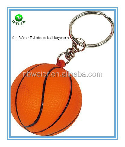 hot selling promotional gift 4cm PU stress basketball keychain/bulk PU material basketball keychain/kids PU basketball keychain