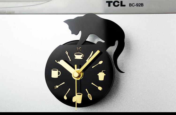 Modern Clock Refrigerator Fridge Magnet Cat Design Kitchen