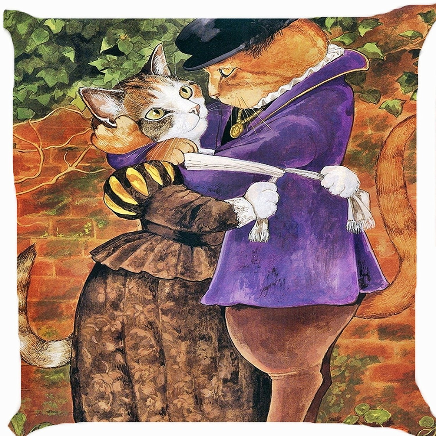 Cushion cover throw pillow case 18 inch retro Victorian cat boy girl hug sweet couple cute kitty both sides image zipper