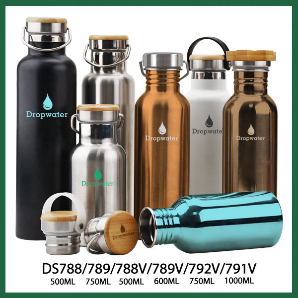 Wholesale discounted single wall stainless steel bpa-free promotional water bottle for travelling with printed logo