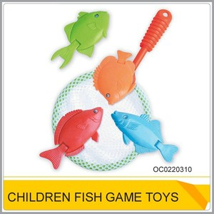Promotional fishing landing net Plastic fish game toys for kids OC0220310