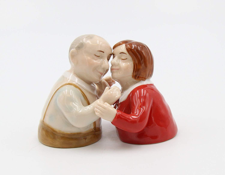 "Cosmos Gifts 20786 Fine Porcelain Grandma & Grandpa Grandparents Hugging Kissing Salt and Pepper Shakers Set, 3"" H"