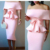 Peplum Tops Off Shoulder with Sashes Sheath Skirt Slim Fashion Two Piece Suits Women