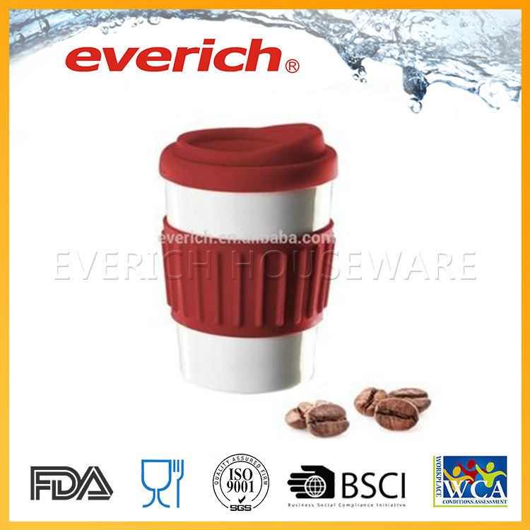 Plain promotional ceramic coffee mug with cover