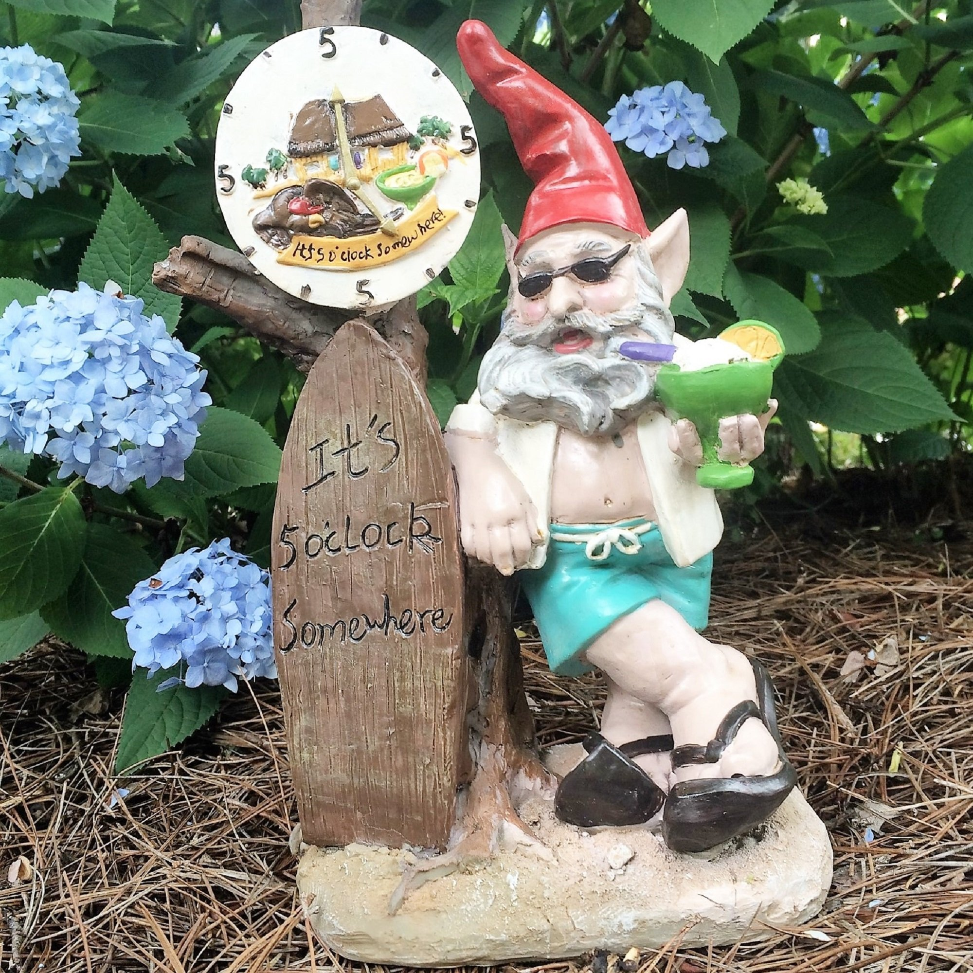 "Nowaday Gnomes - Beach Bum ""Bubba"" the Beach Gnome ""It's 5 O'clock Somewhere"" Garden Gnome Statue 14""H"