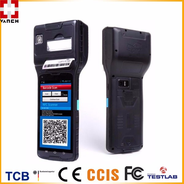 Android RFID handheld READER POS terminal with thermal printer and 1D/2D barcode scanner