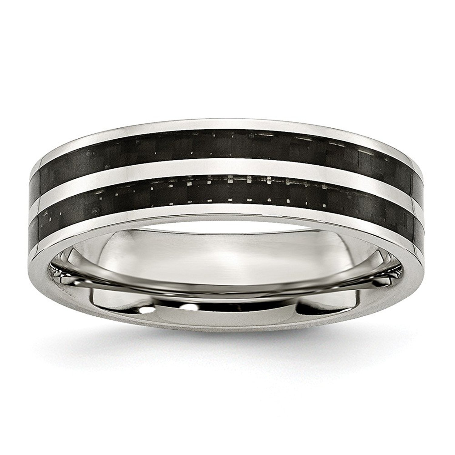 Perfect Jewelry Gift Stainless Steel 6mm Double Row Black Carbon Fiber Inlay Polished Band