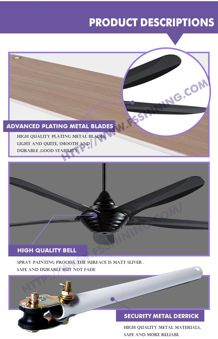 Modern Black Pearl decorative ceiling fan with ABS Plastic blade