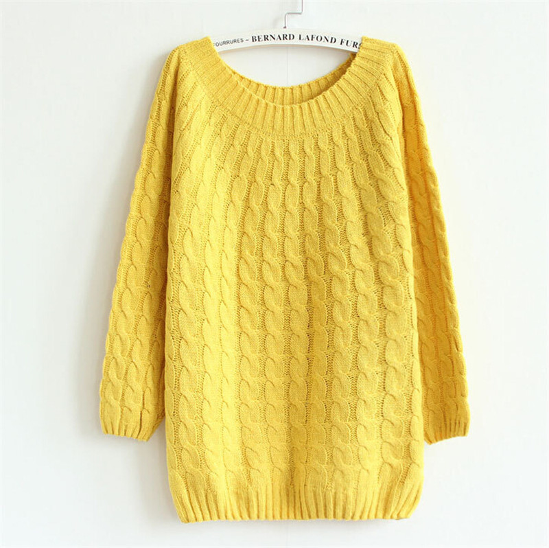 2881941c8bb4 Get Quotations · 2015 autumn sweater women loose twist sweater solid color  free style 9 colors sweaters shirts long