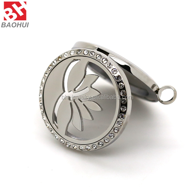 2016 Fashion 30MM Lotus Shape Stainless Steel Essential Oil Aromatherapy Diffuser Necklace Pendant With Crystal
