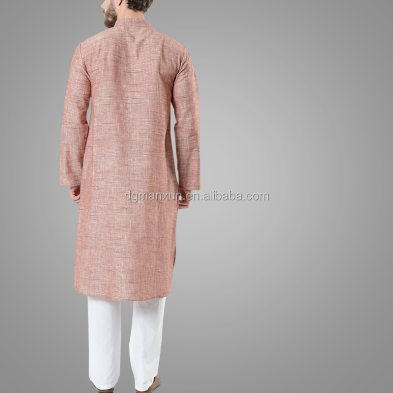 Rust Long Sleeve Tunic Kurta Design Fashion Facy Linen Arabic Thobe For Men