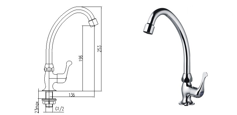 JOMOO Single Handle Cold Water Kitchen Sink Faucet