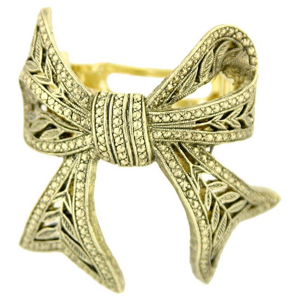 1928 Jewelry Womens Alloy Gold-Tone Bow Vintage Inspired Ponytail Hair Accessory
