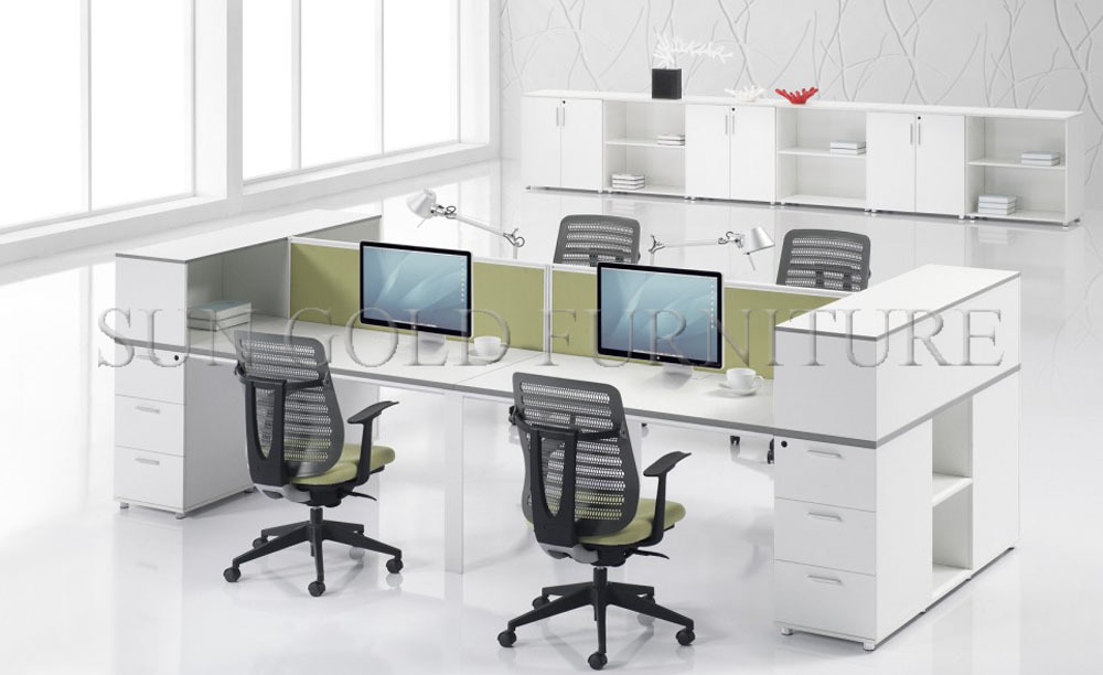 Top call center open layout 4 seat office workstation for Best cubicle design