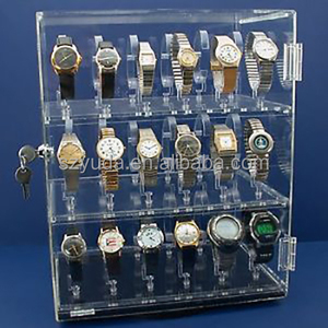 Clear Acrylic 3 Tiers Lockable Rotating Revolving Acrylic Watch Display Stand Holds 18 Watches With Lazy Susan Base