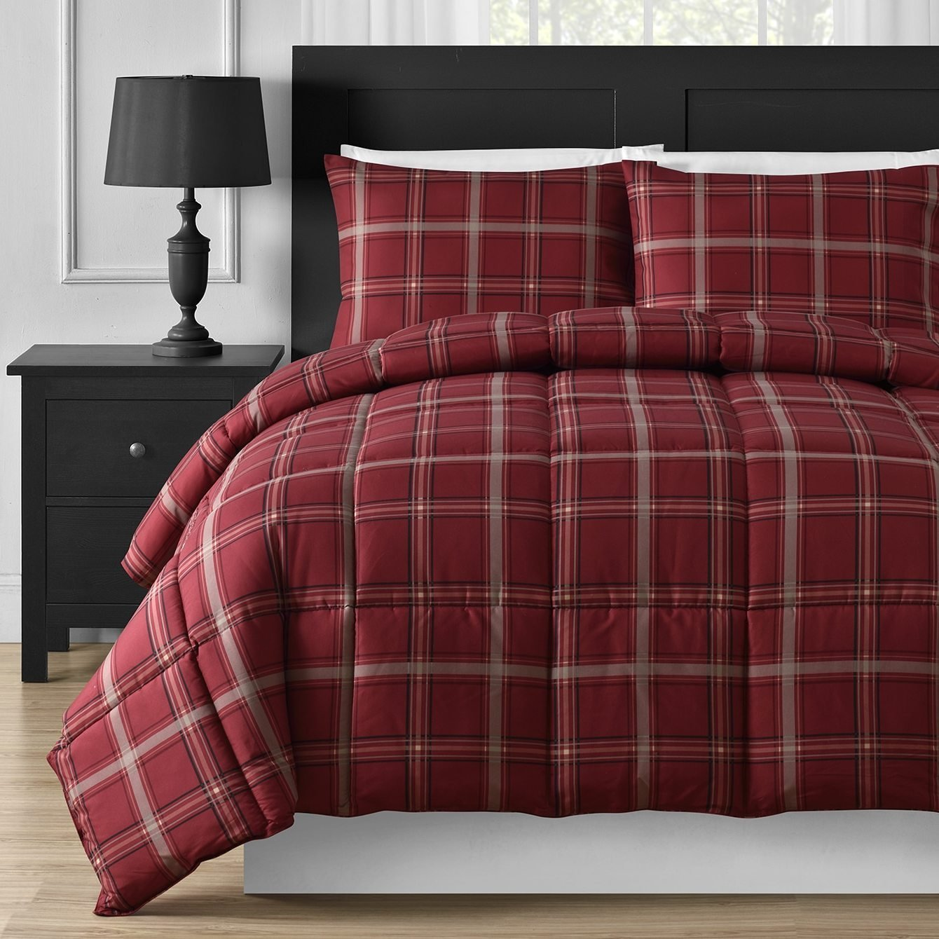 D&H 3 Piece Light Grey Red Plaid Comforter Queen Set, Cozy Warm Cabin Themed Bedding Checked Lumberjack Pattern Lodge Southwest Tartan Madras Cottage Rustic, Modern Polyester