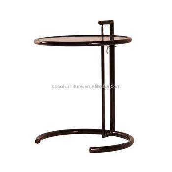 Eileen Gray Adjustable End Table In Black Lacquered Steel Frame