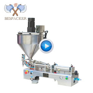 Bespacker semi-auto pneumatic liquid paste water bottle filling machine hopper with mixer