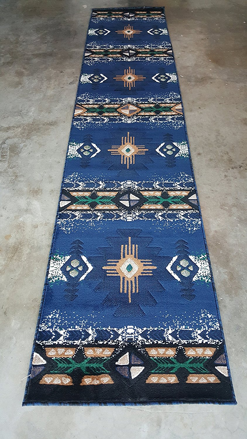 Buy Southwest Native American Long Runner Area Rug Navy Blue Concord