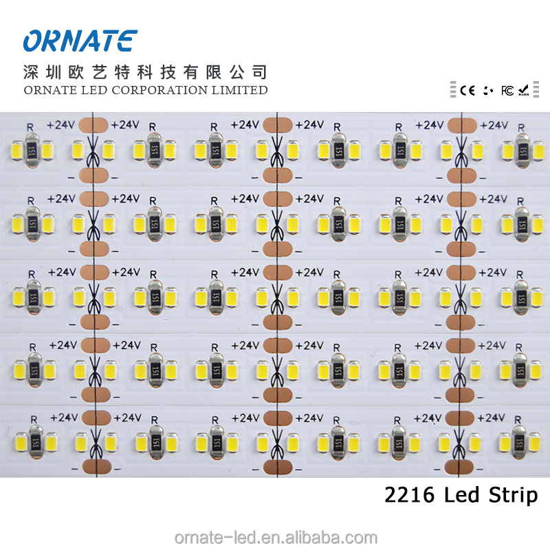 High density 240 led/m 4 ouce PCB high CRI Ra90 24V smd 2216 led strip warm white