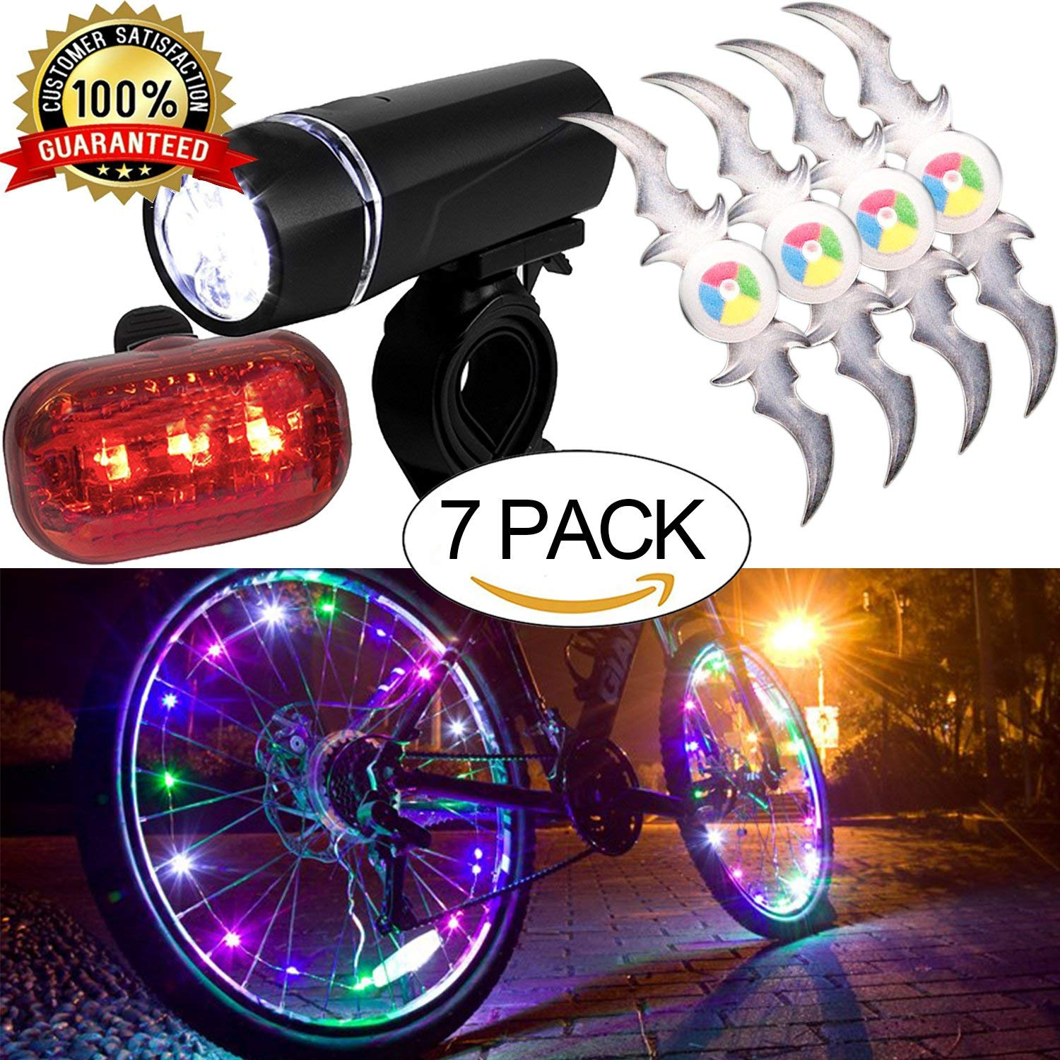Bicycle LED Light Set Super Bright Headlight Taillight,Waterproof Flashlight Bike Wheel Lights,Colorful Bicycle Wheel Spoke,Cycling Light String,Bicycle Tire Accessories-COLORFUL