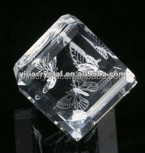 cube glass butterfly gift 3d laser etched crystal