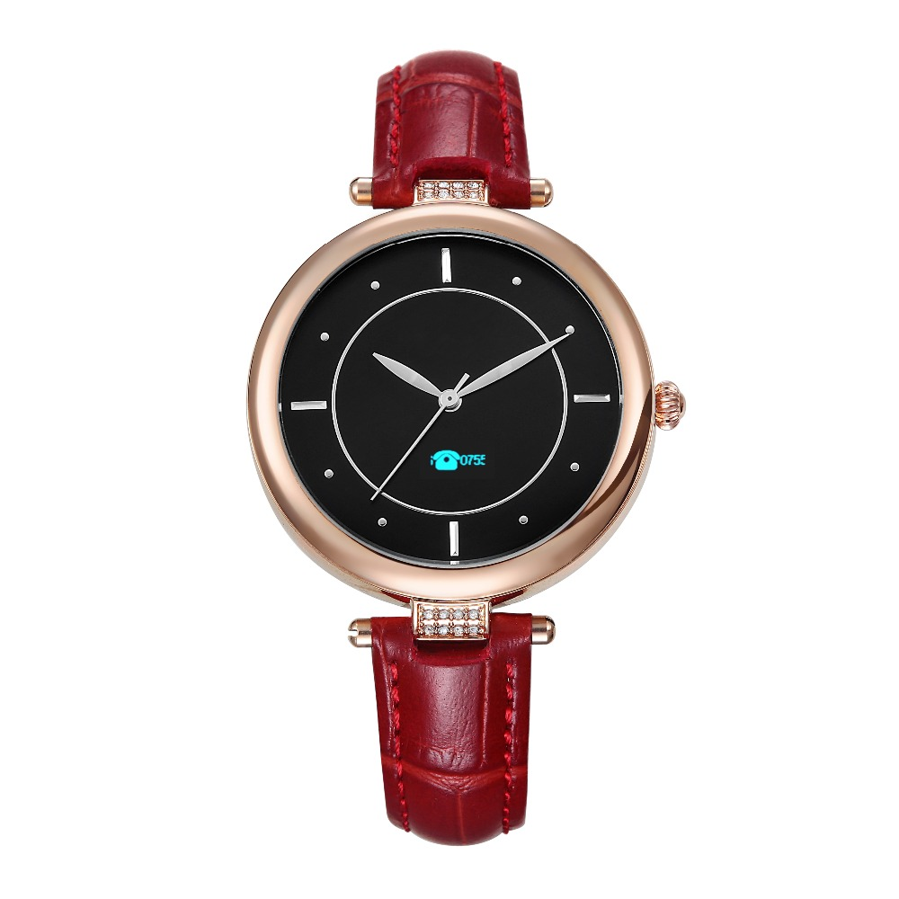 Popular wine red leather strap lady quartz IP67 waterproof smart watch with multiple intelligent function