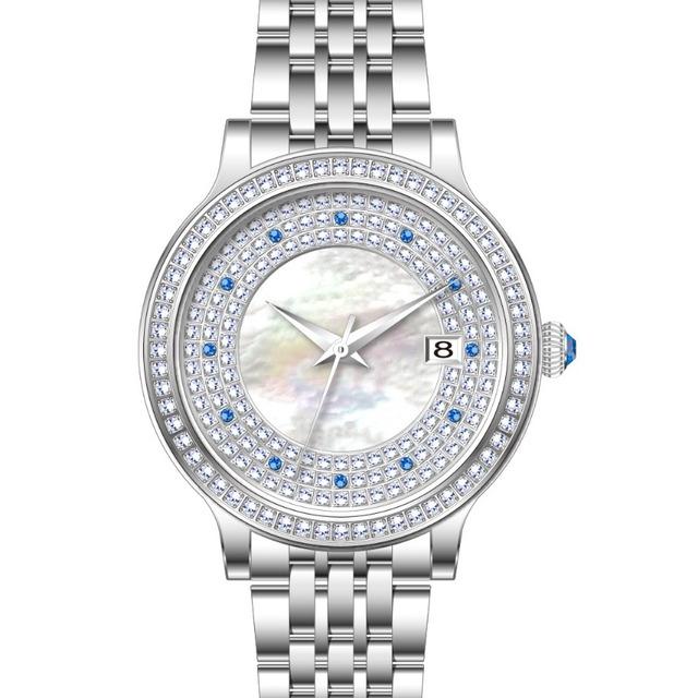 CNC SETTING DIAOND White MOP Emerald Diamond Dial Watch