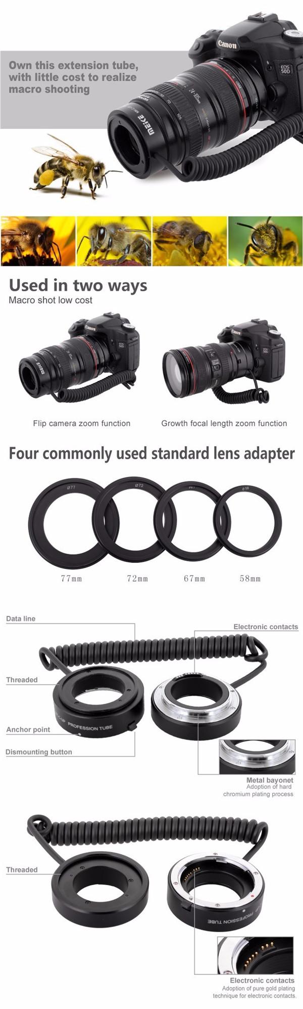 Anillo inversa // Adaptador Macro 58mm para Canon EOS 1 7D 6D 5D Mark III