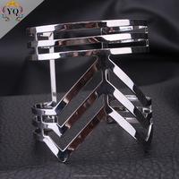 BYQ-00035 new v shaped design fashion silver plated adjustable alloy bangle bracelet