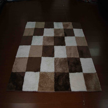 Brown shaggy white faux fur rug animal skin carpet