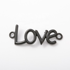 Fashion jewelry metal black color love connector charms for jewelry findings