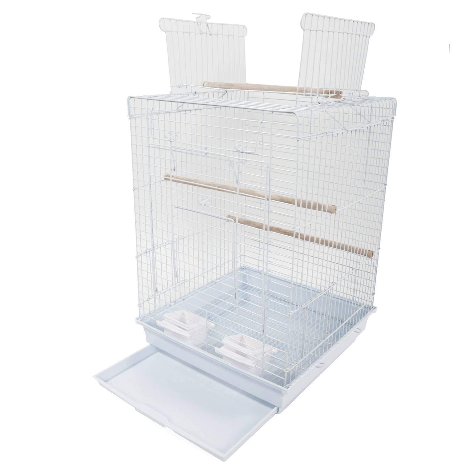 "GLQ 23"" Bird Metal Cage for Parrot Metal Cage with Open Play Top Lovebirds Parakeets with Wood Perches Food Cups Top- Non-Toxic Epoxy Cage Ideal Open Play Black"