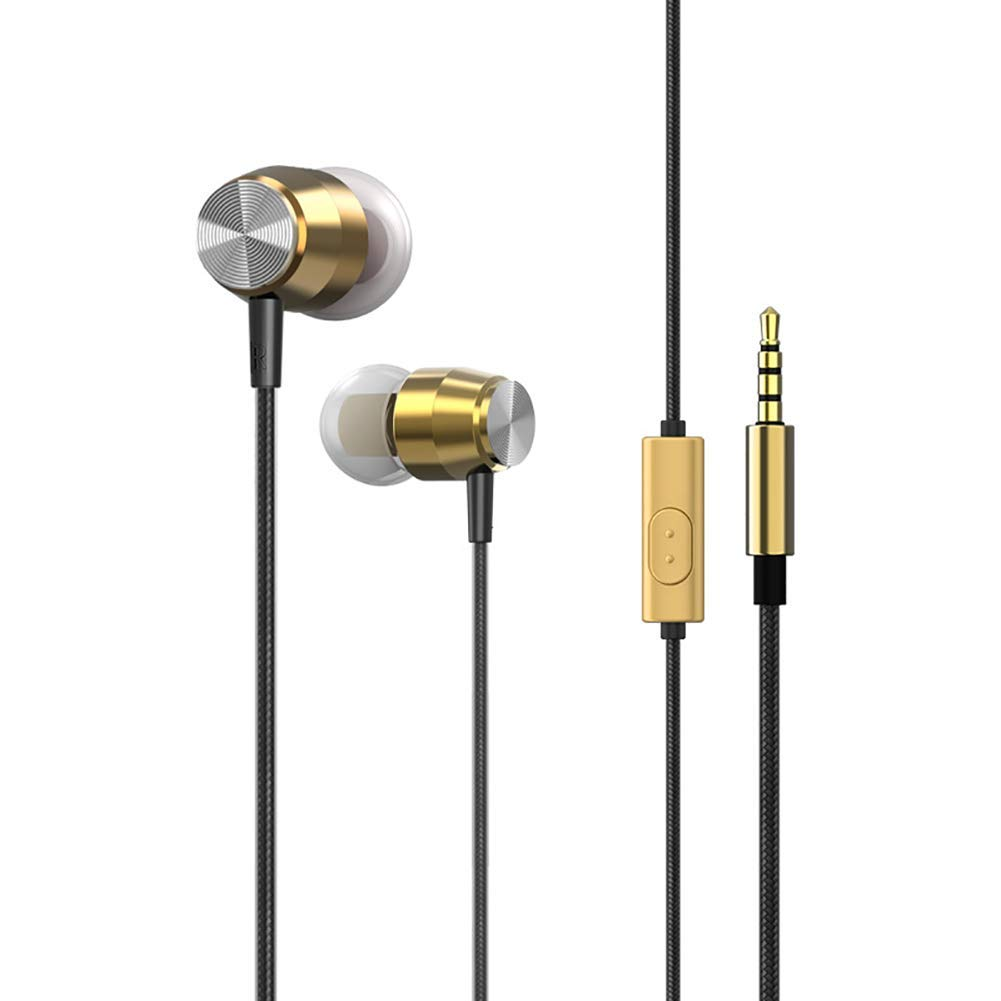 QRMH Metal in-Ear Headphones HiFi Sound Quality Subwoofer Magic Sound Music Headphones Mobile Computer Universal with Microphone, Gold Silver Pink,Gold