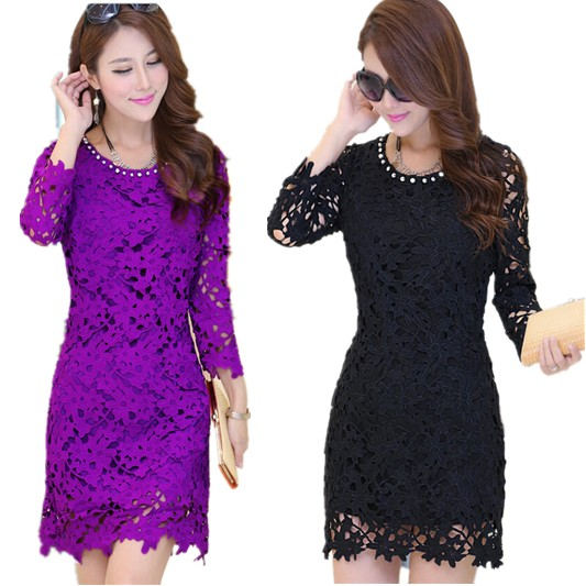 Free Shipping Spring 2015 Hot Sale Plus Size Women Medium-Long Slim Dress , Lace Hollow Out High Quality Dresses XL-XXXXXL