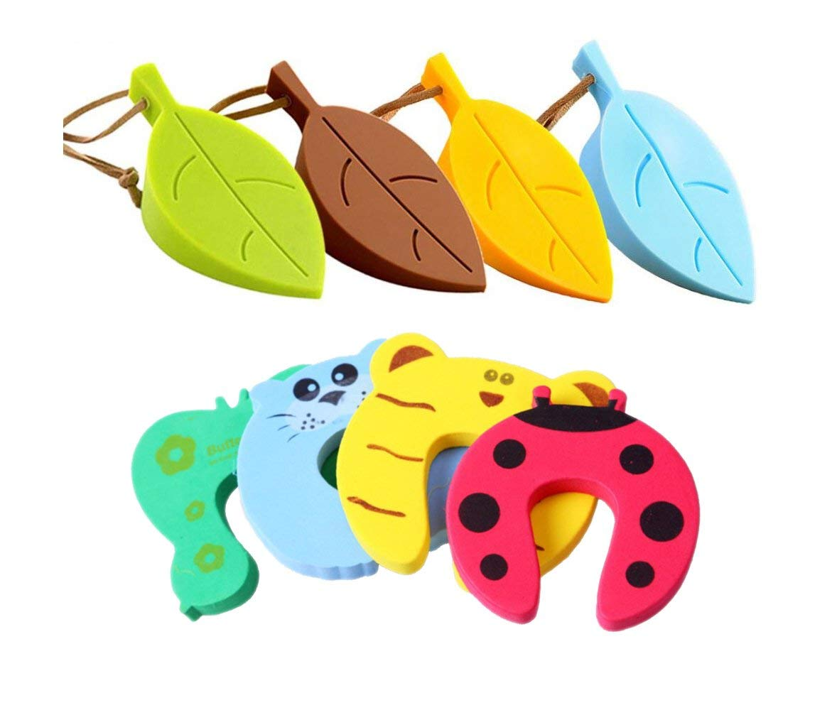 Xntun 8 PCS Child Safety Door stopper Package(Cute leaf shape Silicone Door Stopper 4Pcs and Cartoon Animal Children Safety Foam Door Stop 4Pcs)