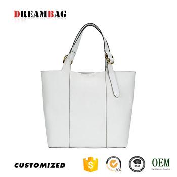 China Man Made Customize Pure White Tote Bag Name Brand Handbag List