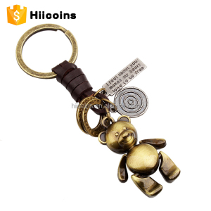 Factory Direct Wholesale Bear Doll Palace Style Keyring Antique Color Metal Keychain