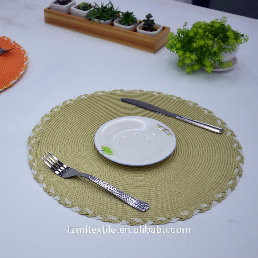 Handmade Woven Braided Round Paper Placemat for ALDI,one piece placemat,placemats for round tables