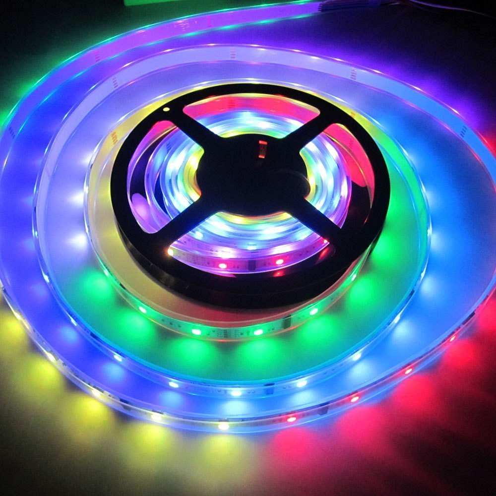 BZONE 133 Color Changing 5m/16.4FT Waterproof Flexible LED Strip Lighting Kit IC 6803 5050 150leds Dream Magic RGB Multicolor LED Tape Rope Lights with 6803 RF Remote Control Dimmer