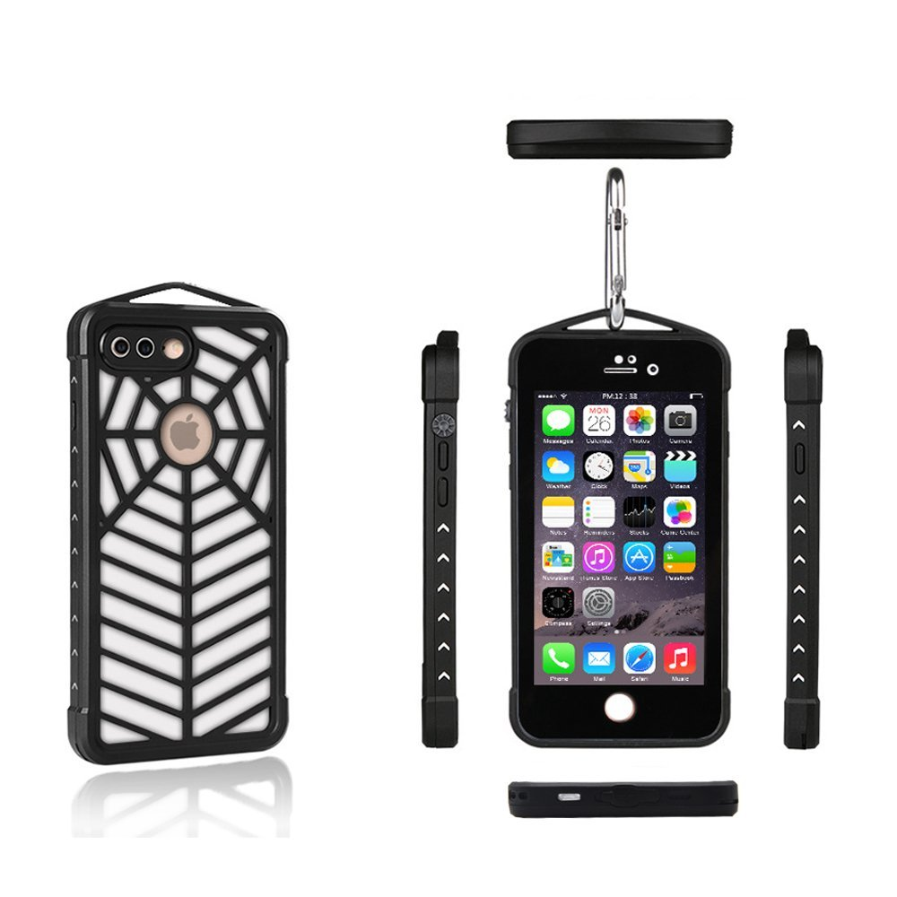 Universal IP68 Waterproof Case for iPhone 7 Plus,Black Spidercase Drop-proof Underwater Shock-proof Dirt-proof Snow-proof Swimming Case for iPhone 7 Plus (BLACK)