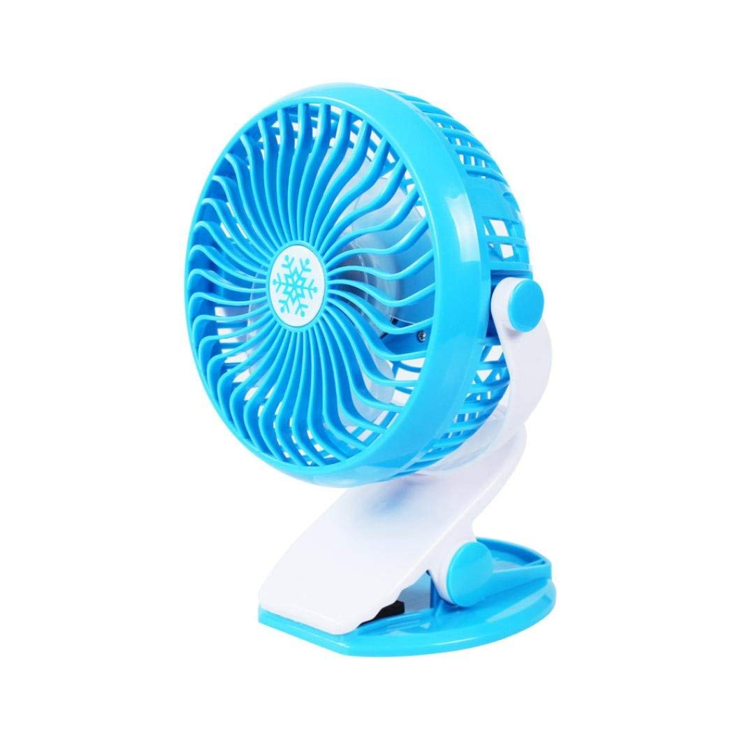 Rumas USB Power Cooling Mini Fan with Clip - 360° Rotation 5-9V 4W - Portable Desk Fan for Baby Stroller and Car (C)