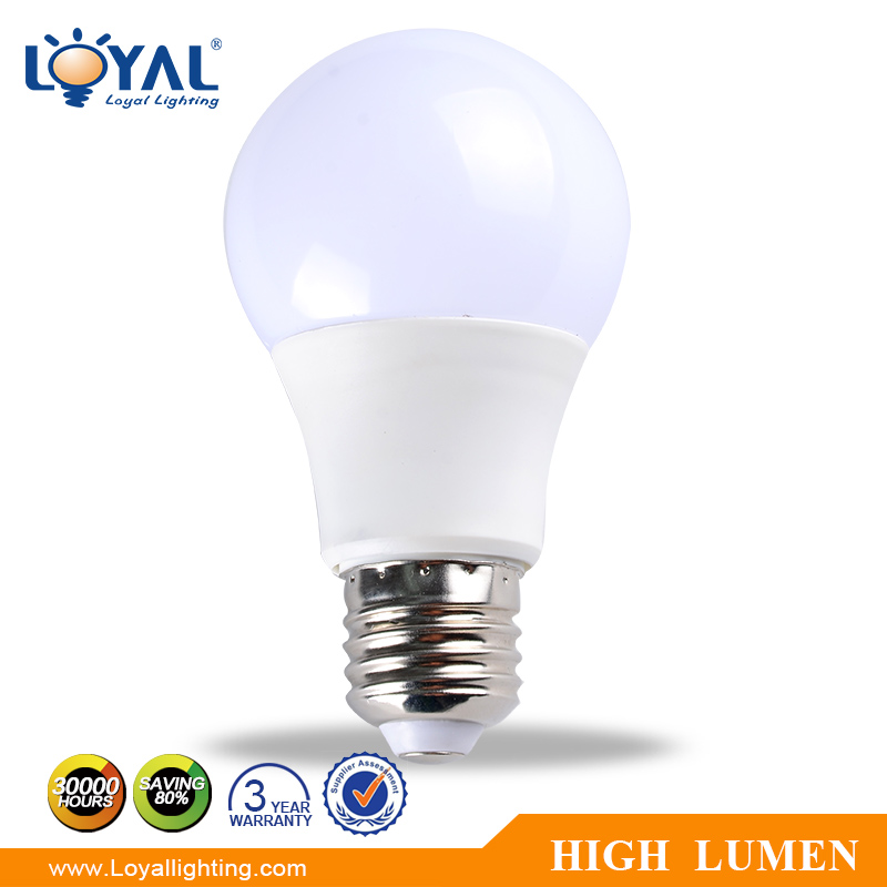 High lumen IP20 indoor aluminum <strong>plastic</strong> a60 7w e27 led bulb smd5730