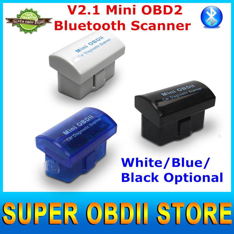 2016 новые мини OBD2 ELM327 V2.1 мини OBDii Bluetooth код сканер ELM 327 для android-крутящий момент / PC белый синий черный опционально