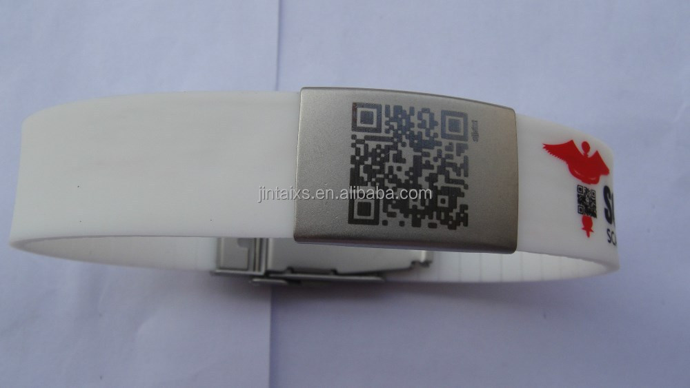 Engrave ID bracelet with metal clasp silicone identified id wristband